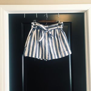 Bohme Boutique Striped High-Waisted Tie Shorts
